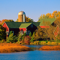 North America, USA, Wisconsin. Red Barn in Autumn.