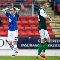 St Johnstone v Hibs…12.08.18…  McDiarmid Park    SPFL<br />Blair Alston holds his head as his goal bound shot is blocked<br />Picture by Graeme Hart. <br />Copyright Perthshire Picture Agency<br />Tel: 01738 623350  Mobile: 07990 594431
