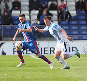 Dundee's Paul McGowan and Inverness Caley Thistle's Graeme Shinnie in a race for the ball  - Inverness v Dundee  - SPFL Premiership at the Caledonian Stadium<br /> <br />  - &copy; David Young - www.davidyoungphoto.co.uk - email: davidyoungphoto@gmail.com
