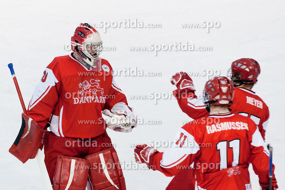 Team Denmark celebrate victory during ice-hockey match between Denmark U18 and Slovenia U18 at IIHF World Championship U18, Division I Group B, on April 15, 2011 at Ledena Dvorana Tabor, Maribor, Slovenia. (Photo By Matic Klansek Velej / Sportida.com)