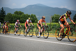 Karol-Ann Canuel and Doris Schweizer near the front as the chasing peloton stretch into a single line at Giro Rosa 2016 - Stage 4. A 98.6 km road race from Costa Volpino to Lovere, Italy on July 5th 2016.