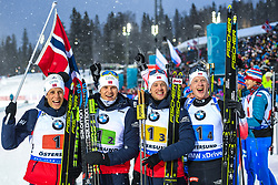 March 16, 2019 - –Stersund, Sweden - 190316 Johannes Thingnes Bø, Vetle SjÃ¥stad Christiansen, Tarjei Bø and Johannes Thingnes Bø of Norway celebrate after the Men's 4x7,5 km Relay during the IBU World Championships Biathlon on March 16, 2019 in Östersund..Photo: Petter Arvidson / BILDBYRÃ…N / kod PA / 92269 (Credit Image: © Petter Arvidson/Bildbyran via ZUMA Press)