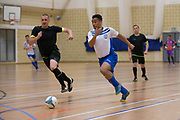 Dundee Futsal (blue and white) v TMT (black) in the Scottish Futsal Finals day semi final at Perth College, Perth, Photo: David Young<br /> <br />  - © David Young - www.davidyoungphoto.co.uk - email: davidyoungphoto@gmail.com
