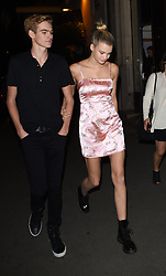 Presley Walker Gerber & Girlfriend Cayley King go for a romantic evening stroll down the Champs-Élysées in Paris<br /><br />25 September 2017.<br /><br />Please byline: Vantagenews.com