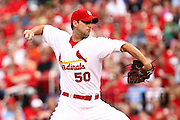 29 June 2010: St. Louis Cardinals starting pitcher Adam Wainwright (50) prepares to release a pitch towards the plate during Tuesday's game against the Arizona Diamondbacks  at Busch Stadium in St. Louis, Missouri.