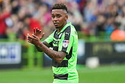 Forest Green Rovers Keanu Marsh-Brown(7) applauds the fans at the end of the game during the EFL Sky Bet League 2 match between Forest Green Rovers and Newport County at the New Lawn, Forest Green, United Kingdom on 14 October 2017. Photo by Shane Healey.