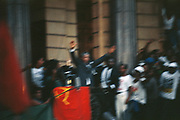 ( Nelson Mandela raises his hands to a crowd on the Grand Parade from the City Hall in Cape Town the day he was released from prison on 11 February 1990. )<br /> <br /> Photograph &copy; nic bothma
