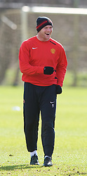 MANCHESTER, ENGLAND - Monday, March 3, 2008: Manchester United's Wayne Rooney training at Carrington ahead of the UEFA Champions League First knockout round 2nd leg match against Olympique Lyonnais. (Photo by David Rawcliffe/Propaganda)