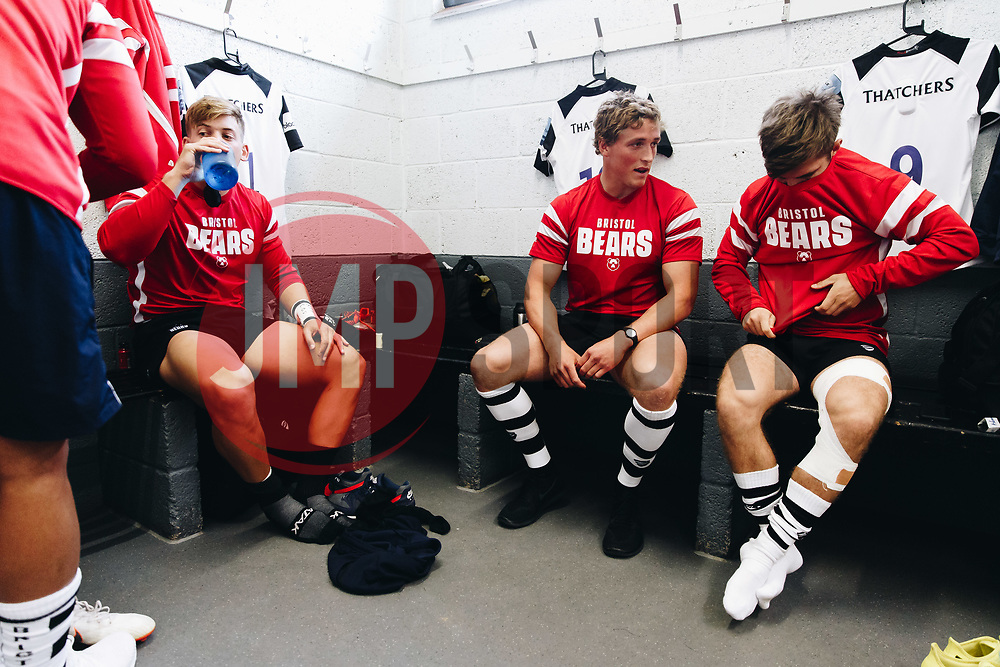Tiff Eden and Harry Randall of Bristol Bears prepare in the dressing room ahead of the game - Rogan/JMP - 24/08/2018 - RUGBY UNION - Clifton Rugby Club - Bristol, England - Bristol Bears v Nottingham Rugby - Pre Season Friendly.