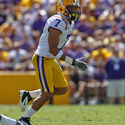 October 1, 2011; Baton Rouge, LA, USA;  LSU Tigers cornerback Tyrann Mathieu (7) against the Kentucky Wildcats during the second quarter at Tiger Stadium.  Mandatory Credit: Derick E. Hingle-US PRESSWIRE / © Derick E. Hingle 2011