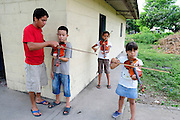 Young students of the 'Music for Hope' project, based in the community of Nueva Esperanza, El Salvador.