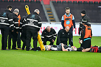 Football - 2018 / 2019 Guinness Pro14 - Ospreys vs. Cardiff Blues<br /> <br /> Adam Beard, of Ospreys receives treatment for a suspected neck injury , at Liberty Stadium.<br /> <br /> COLORSPORT/WINSTON BYNORTH