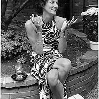 Anne Sexton, American journalist and writer photographed at a book publication garden party in Boston. June 23, 1973<br /> <br /> Picture by Gwendolyn Stewart/Writer Pictures