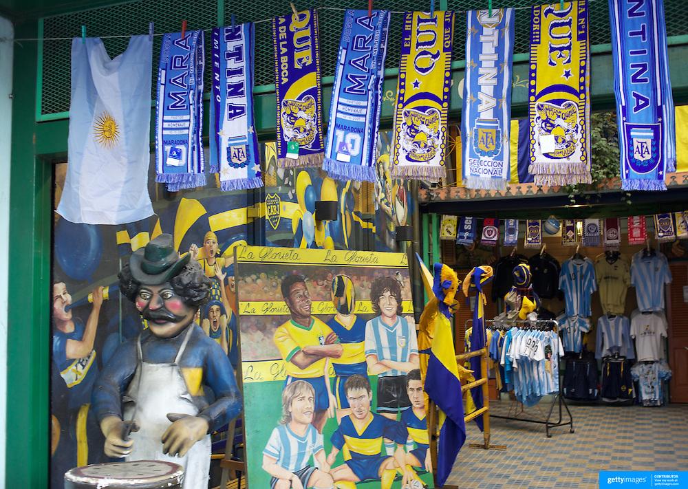 Boca Juniors and Argentina football merchandise on sale outside the famous Boca Juniors football stadium, La Bombonera, in La Boca region of Buenos Aires, Argentina, 25th June 2010. Photo Tim Clayton..