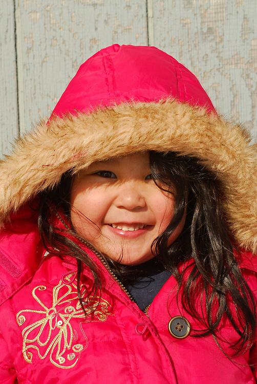 Alaska, Barrow. Hopson family at home. The Iñupiat girl Emeryn Hopson. (Model Release)
