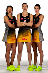Tamsin Moala, Rachel Dunn and Katie Harris of Wasps Netball - Mandatory by-line: Robbie Stephenson/JMP - 02/11/2019 - NETBALL - Ricoh Arena - Coventry, England - Wasps Netball Headshots