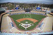 LOS ANGELES, CA - APRIL 6:  The Los Angeles Dodgers take batting practice in this overhead general view photograph of Dodger Stadium before the game against the San Francisco Giants at Dodger Stadium on Sunday, April 6, 2014 in Los Angeles, California. The Dodgers won the game 6-2. (Photo by Paul Spinelli/MLB Photos via Getty Images)