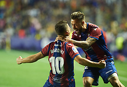May 13, 2018 - Valencia, Valencia, Spain - Enis Bardhi and Antonio Luna of Levante UD celebrates a goal during the La Liga match between Levante and FC Barcelona, at Ciutat de Valencia Stadium, on may 13, 2018  (Credit Image: © Maria Jose Segovia/NurPhoto via ZUMA Press)