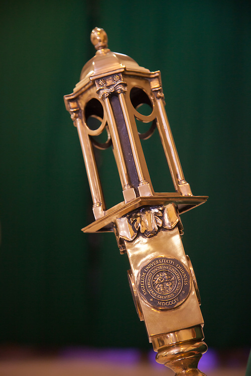 Ohio University Ceremonial Mace awaits to be delivered to the stage for the 2014 Commencement Ceremony May 2, 2014.  Photo by Ohio University / Jonathan Adams