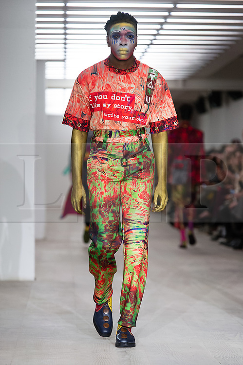 © Licensed to London News Pictures. 14/02/2020. London, UK.  London Fashion Week Autumn Winter 2020 - On Off... presents Iyanu  runway show - model on the catwalk.  Photo credit : Richard Isaac/LNP