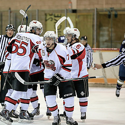 PICKERING, ON - Jan 31 : Ontario Junior Hockey League Game Action between the Pickering Panthers Hockey Club, and Toronto Lakeshore Patriots Hockey Club, Tanner Shaw #7 of the Pickering Panthers Hockey Club celebrates with his team mates<br /> (Photo by Keith White / OJHL Images)