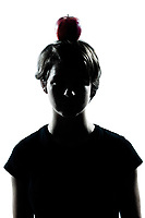 one caucasian young teenager silhouette boy or girl with an apple on his head portrait in studio cut out isolated on white background