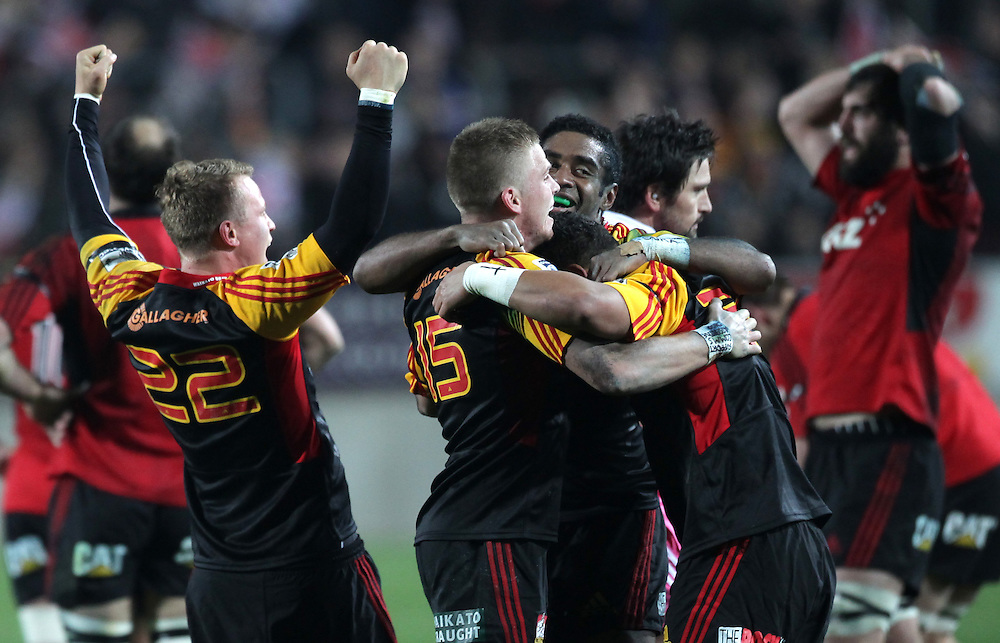 The Chiefs celebrate defeating the Crusaders in a Super Rugby semi final match, Waikato Stadium, Hamilton, New Zealand, Saturday, July 27, 2013.  Credit:SNPA / David Rowland