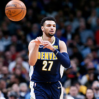 09 March 2018: Denver Nuggets guard Jamal Murray (27) passes the ball during the Denver Nuggets125-116 victory over the Los Angeles Lakers, at the Pepsi Center, Denver, Colorado, USA.
