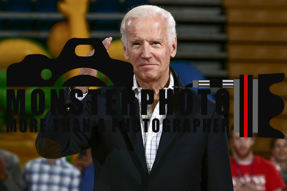 Former VP JOE BIDEN salutes the crowd during Half time of an NBA D-league regular season game between the Delaware 87ers and the Windy City Bulls (Chicago Bulls) Saturday, March 25, 2017 at The Bob Carpenter Sports Convocation Center in Newark, DEL