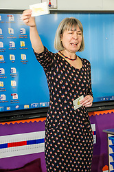 Pictured: Frances Rive, Youth Music Initiative co-ordinator<br /> <br /> Culture Secretary Fiona Hyslop MSP unveiled cash awards for Youth Music Initiative schemes which will help young people learn about and enjoy music. Ms Hyslop made the announcement when she joined schoolchildren at Longstone Primary School, Edinburgh today.<br /> <br /> <br /> Ger Harley | EEm 8 March 2018