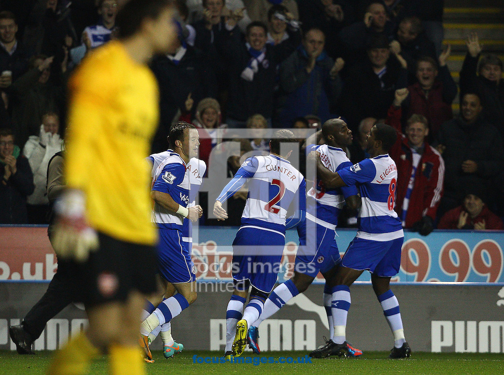 Picture by Paul Terry/Focus Images Ltd +44 7545 642257.30/10/2012.Jason Roberts ( 2nd R) of Reading celebrates with team mates after scoring to make it 1-0 during the Capital One Cup match at the Madejski Stadium, Reading.