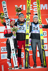LUNDBY Maren (NOR) PINKELNIG Eva (AUT)  KRIZNAR Nika (SLO) celebrate after FIS Ski Jumping World Cup Ladies Ljubno 2020, on February 23th, 2020 in Ljubno ob Savinji, Ljubno ob Savinji, Slovenia. Photo by Matic Ritonja / Sportida