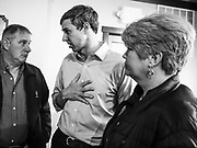 04 APRIL 2019 - CARROLL, IOWA:  BETO O'ROURKE talks to supporters one to one during a meet and greet campaign event in Carroll, IA. Beto O'Rourke stopped at Kerps Tavern in Carroll to campaign for president Thursday. He is crisscrossing Iowa through the weekend with stops throughout the state. Iowa holds its caucuses, considered the kickoff of the US Presidential campaign, on Feb. 3, 2020.    PHOTO BY JACK KURTZ