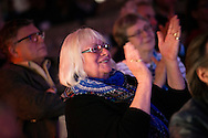 June Johnson of Wittenberg claps following a performance of 'Old School' and 'Lost and Found' at the Stadthaus on Saturday, May 2, 2015, in Wittenberg, Germany. LCMS Communications/Erik M. Lunsford