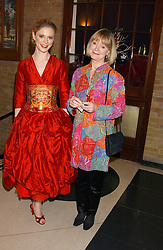 Left to right, Actress EMILIA FOX and JOANNA DAVID at the 2005 Whitbread Book Awards 2005 held at The Brewery, Chiswell Street, London EC1 on 24th January 2006. The winner of the 2005 Book of the Year was Hilary Spurling for her biography 'Matisse the Master'.<br />