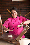 Elosia hand makes the tortillas and brings them to your table at authentic, Mexican restaurant Burrito Vaquero in Roseburg, Oregon.