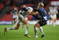 Charlie Amesbury, left wing for Bristol Rugby brings down Piers O'Conor of Bedford Blues - Mandatory by-line: Paul Knight/JMP - Mobile: 07966 386802 - 11/12/2015 -  RUGBY - Ashton Gate Stadium - Bristol, England -  Bristol Rugby v Bedford Blues - British and Irish Cup