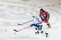 KELOWNA, CANADA - OCTOBER 7:  Cole Linaker #26 of Kelowna Rockets checks Max Lajoie #27 of the Swift Current Broncos on October 7, 2014 at Prospera Place in Kelowna, British Columbia, Canada.  (Photo by Marissa Baecker/Getty Images)  *** Local Caption *** Cole Linaker; Max Lajoie;