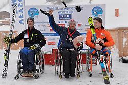 Podium at 2018 World Para Alpine Skiing World Cup slalom, Veysonnaz, Switzerland