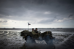 History enthusiasts drive an armored vehicle on the beach on the Normandy coast ahead of the 75th D-Day anniversary, in Arromanches, France, 04 June 2019. World leaders are to attend memorial events in Normandy, France on 06 June 2019 to mark the 75th anniversary of the D-Day landings, which marked the beginning of the end of World War II in Europe Photo by Eliot Blondet/ABACAPRESS.COM