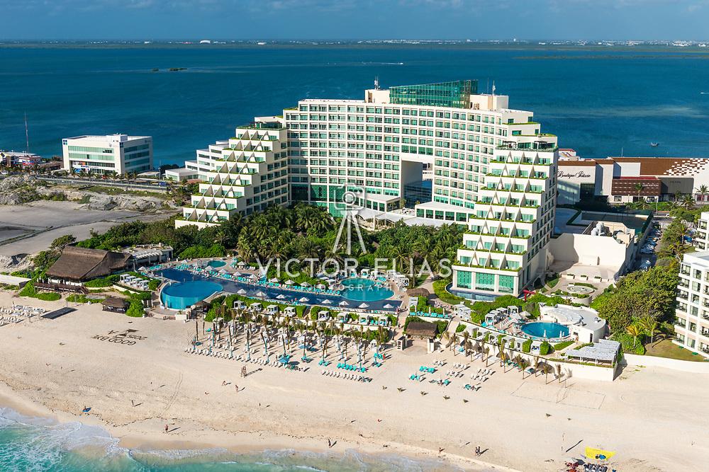 Aerial view of the Live Aqua Resort. Cancun, Mexico.