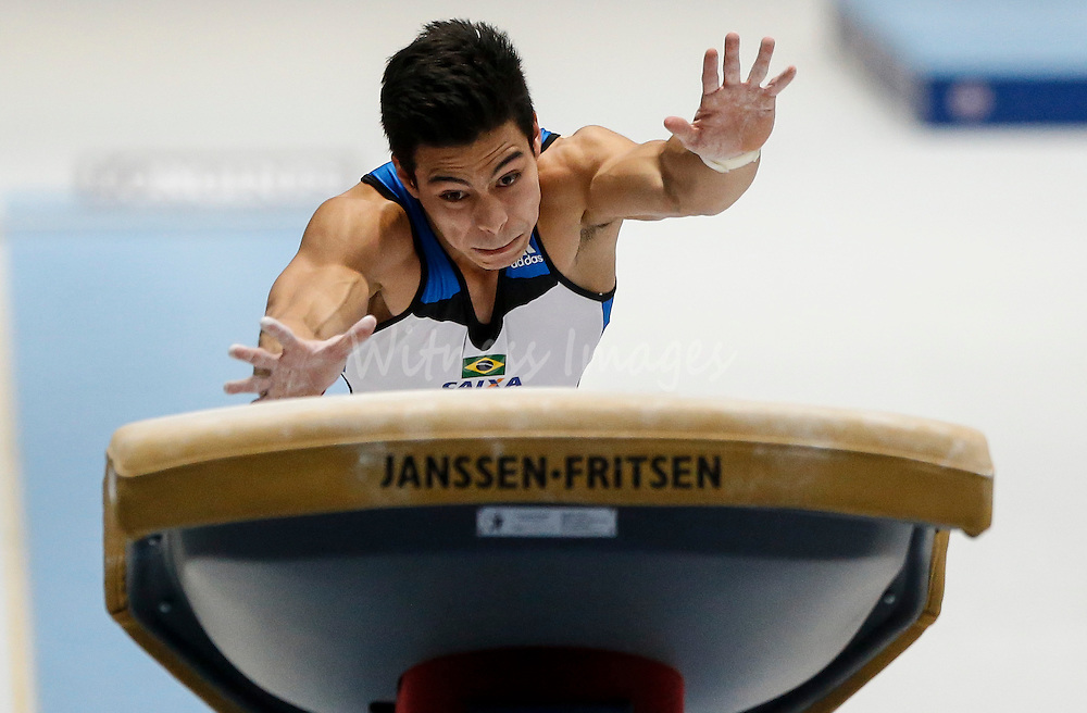 Sergio Sakaki Junior of Brazil competes on the Vault during the Apparatus finals at the Artistic Gymnastics World Championships in Antwerp, Belgium, 06 October 2013.