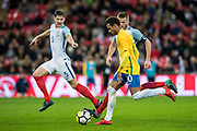 Brazil (10) Neymar, England (8) Eric Dier during the International Friendly match between England and Brazil at Wembley Stadium, London, England on 14 November 2017. Photo by Sebastian Frej.