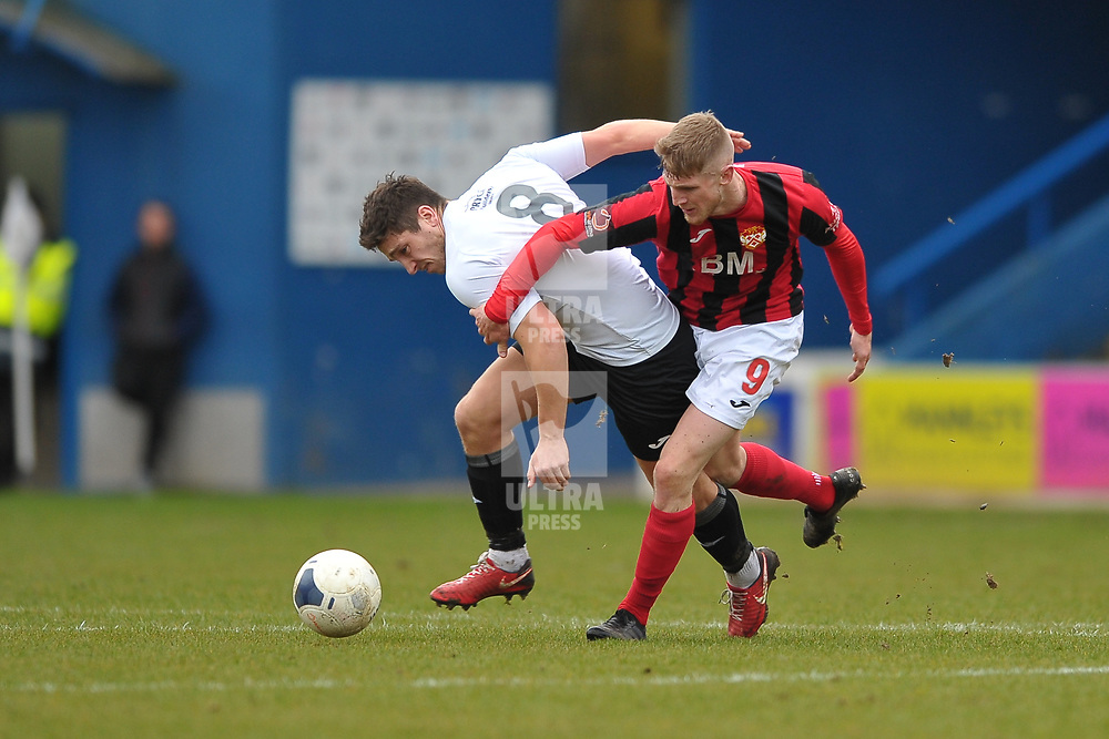 TELFORD COPYRIGHT MIKE SHERIDAN Adam Walker of Telford battles for the ball with Connor Kennedy of Kettering during the Vanarama Conference North fixture between AFC Telford United and Kettering at The New Bucks Head on Saturday, March 14, 2020.<br /> <br /> Picture credit: Mike Sheridan/Ultrapress<br /> <br /> MS201920-050