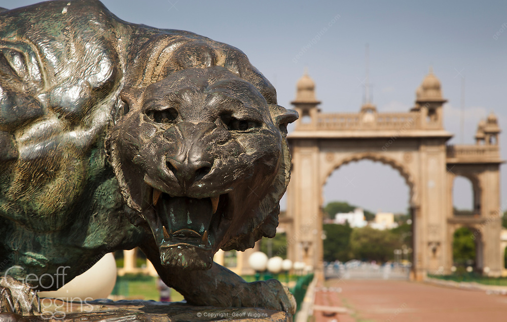 Bronze tiger statue in the grounds of Mysore Palace, Karnataka, India