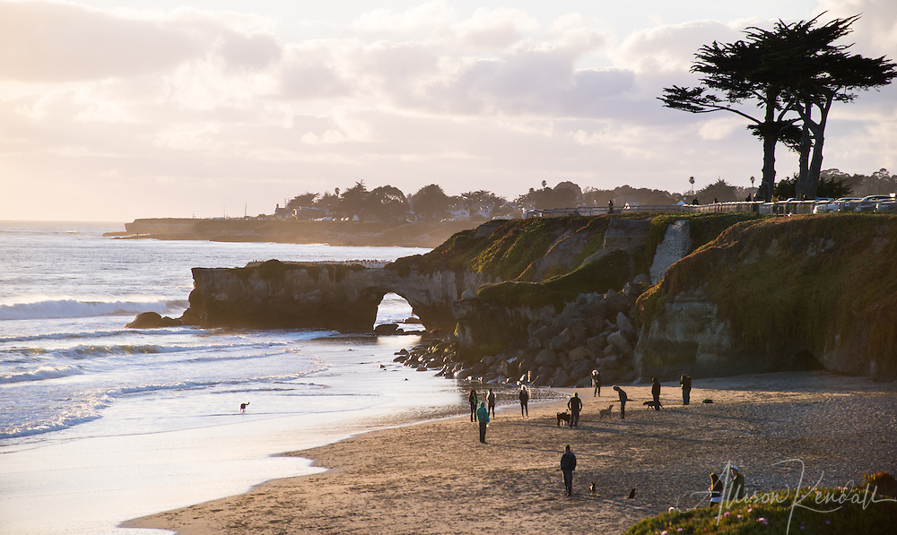 Sunset at West Cliff in Santa Cruz, brings surfers, photographers, tourists and locals out to enjoy the local beauty