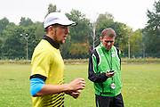 (L) Artur Kuciapski and (R) his trainer Andrzej Wolkowycki during training session on AWF at athletics stadium in Warsaw, Poland.<br /> <br /> Poland, Warsaw, August 26, 2014<br /> <br /> Picture also available in RAW (NEF) or TIFF format on special request.<br /> <br /> For editorial use only. Any commercial or promotional use requires permission.<br /> <br /> Photo by &copy; Adam Nurkiewicz / Mediasport