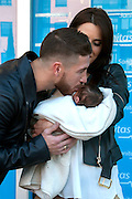 MADRID, SPAIN, 2015, NOVEMBER 17 <br /> <br /> Sergio Ramos and Pilar Rubio introduce Marco newborn son<br /> <br /> Sergio Ramos, Real Madrid player and Pilar Rubio introduce there second child. The child will be called Marco. On his way out of the Sanitas Clinic, after giving birth.<br /> ©Exclusivepix Media