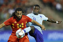 (L-R) Jason Denayer of Belgium, Quincy Promes of Holland during the International friendly match between Belgium and The Netherlands at the King Baudouin Stadium on October 16, 2018  in Brussels, Belgium