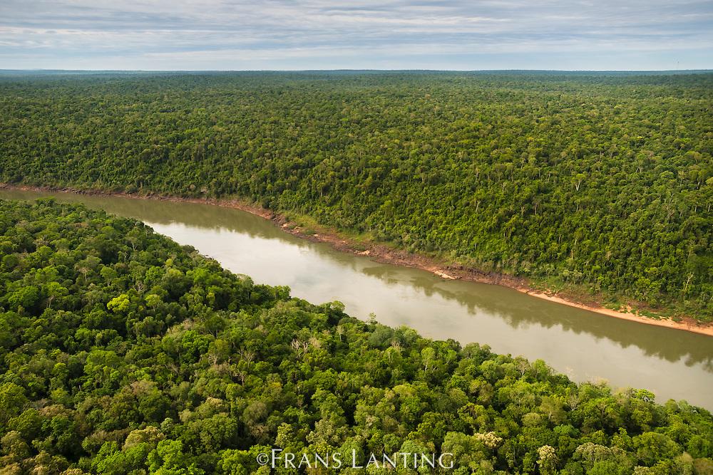 Iguacu River (aerial), Iguacu National Park, Brazil